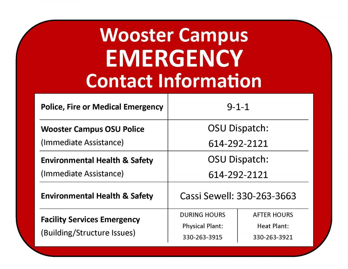 Wooster campus emergency contact info